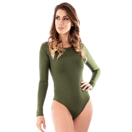 Body Feminino Manga Longa Costa Nua Inverno Frio Verde Musgo