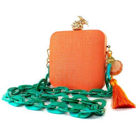 Bolsa Pequena Clutch Festa Mini Bag Quadrada Laranja Abacaxi