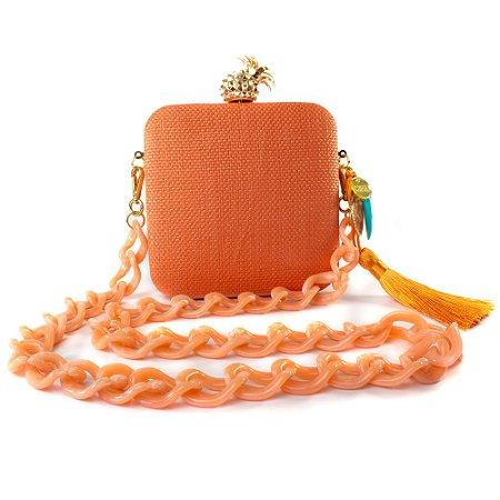 Bolsa Pequena Clutch Festa Mini Bag Quadrada Laranja Concha