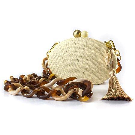 Bolsa Pequena Clutch Festa Mini Bag Oval Palha Balada Concha