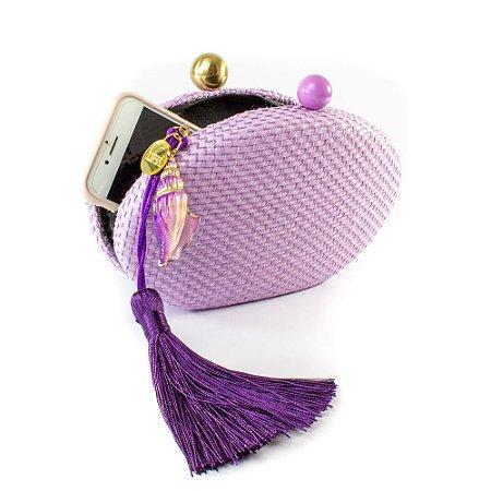 Bolsa Pequena Clutch Festa Mini Bag Oval Lavanda Concha