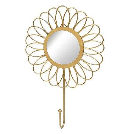 Cabideiro Gancho de Parede - Flor c/ Espelho