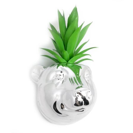 Vaso de Parede Cachepot Urso Prateado Cerâmica
