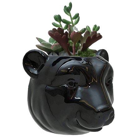 Vaso de Parede Cachepot Urso Preto Cerâmica