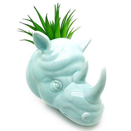 Vaso de Parede Cachepot Rinoceronte Verde Porcelana