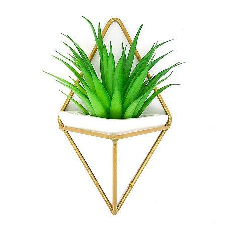Vaso de Parede Triangular Branco e Dourado - Suporte Aramado