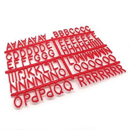 184 Letras e Números para Mural Letreiro Letter Board - Vermelho
