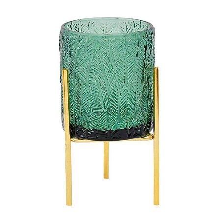 Vaso de Vidro Verde Porta Velas com Suporte Dourado Palmeiras B