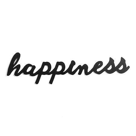 Happiness - Palavra Decorativa Madeira Mdf 59cm - Preto