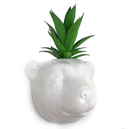 Vaso de Parede Cachepot Urso Branco Cerâmica