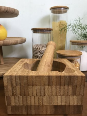 Kit Mortar Pestle em Bambu 02 Peças