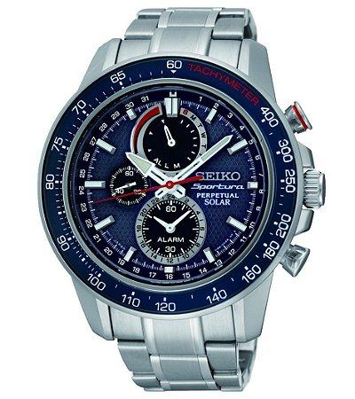 Relógio Seiko Sportura Solar Perpetual  ssc355b1 * Safira gift box