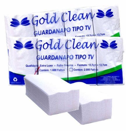 Kit 2 Und. Guardanapo Tipo TV 13,7x13,7 c/ 3200un Gold Clean