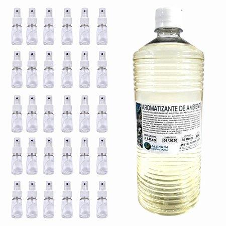 Kit Aromatizante de Ambiente 1lt + Frasco Pet 30ml Spray Lembrancinha