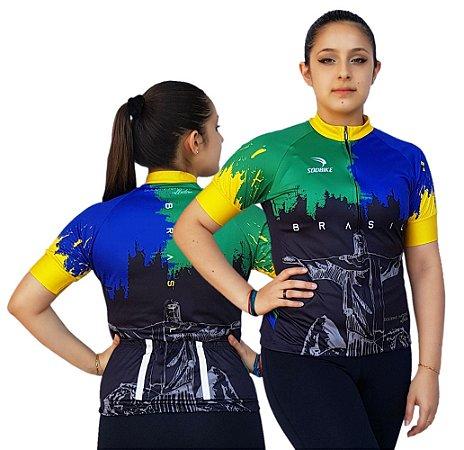 Camisa Ciclismo Sódbike Feminina Nações - Brasil Preta