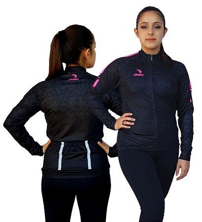 Camisa Ciclismo Sódbike Longa FL Pink Flanelada Feminina