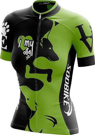 Camisa Ciclismo Feminina Love Dog's Verde