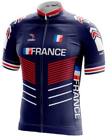 Camisa Ciclismo França Azul