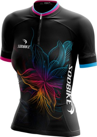 Camisa Ciclismo Flower - Ziper15cm