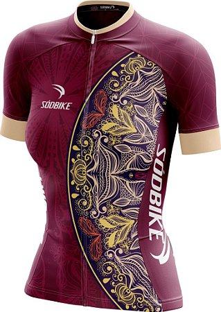 Camisa Ciclismo Feminina Sódbike Mandala Ziper Full