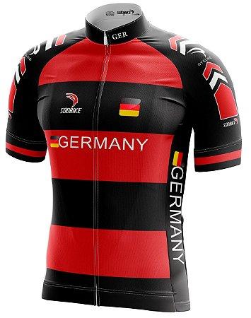 Camisa Ciclismo Alemanha Vermelha - Infantil