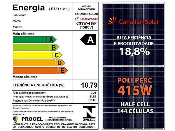 PAINEL SOLAR FOTOVOLTAICO CANADIAN  POLICRISTALINO 144 CEL. 415W HALF CELL 18,8%