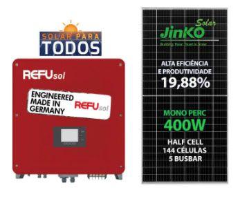 GERADOR DE ENERGIA SOLAR REFUSOL GEF 8KWP Jinko MONO PERC HALF CELL 400W ONE 7.5KW 2MPPT MONO 220V