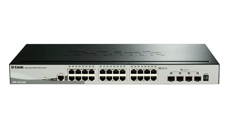 SWITCH 24 X 1GB BASE-T 4 X 10G SFP+ - PART NUMBER D-LINK: DGS-1510-28X