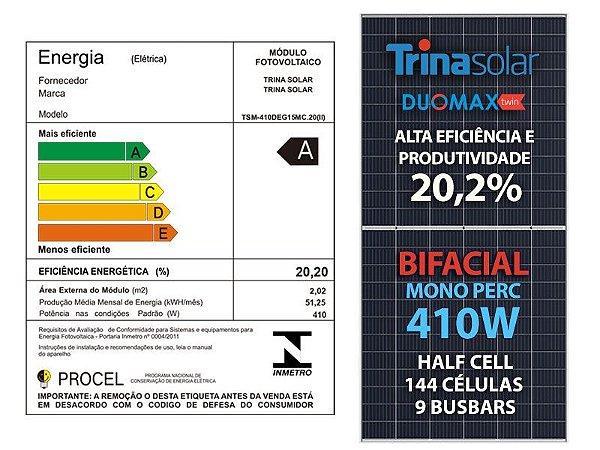 PAINEL SOLAR FOTOVOLTAICO TRINA SOLAR 410W MONO HALF CELL 20,2% EFIC