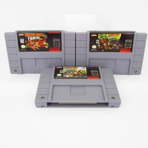 Trilogia Donkey Kong Country 1 2 3 Cartuchos Super Nintendo com Bateria