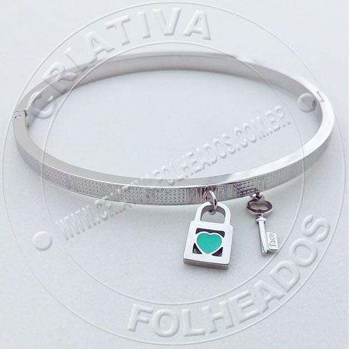 Bracelete Pulseira Tiff Cadeado Coração Verde Chave Inox