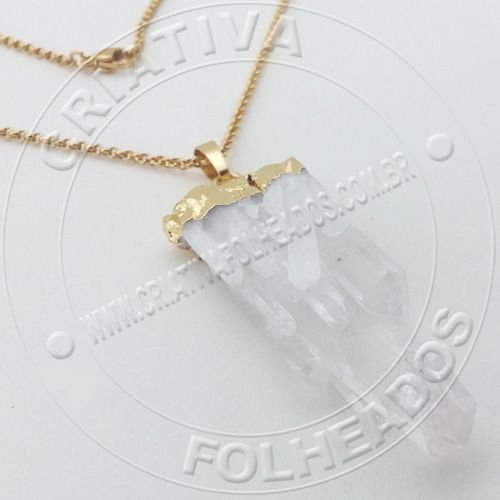 Gargantilha Drusa Cristal Quartzo Branco Transparente Feng Shui