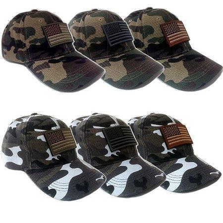 Boné Chapéu Camuflado Usa Estados Unidos Americano Bandeira Patch Velcro Selva