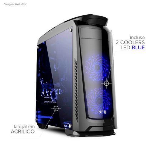 Gabinete NFX Gamer DARKFACE 2 com 2 coolers LED AZUL (lateral em acrílico / sem fonte)