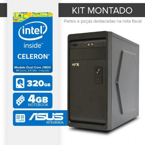 Kit montado Processador Intel Dual Core J1800 / 4GB de RAM / 320GB de HD / MB ASUS / 1 serial / Linux