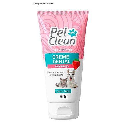 Creme Dental sabor Morango para Cães e Gatos - Pet Clean 60gr