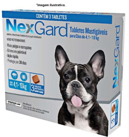 Antipulgas e Carrapatos NexGard 28,3 mg para Cães de 4,1 á 10Kg - combo