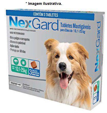 Antipulgas e Carrapatos NexGard 68mg para Cães de 10 á 25kg - combo