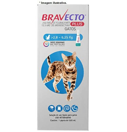Antipulgas MSD Bravecto Plus Transdermal para Gatos de 2,8kg á 6,25kg