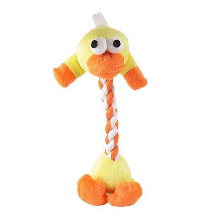 Brinquedo para Cães Pato de Pelucia com corda