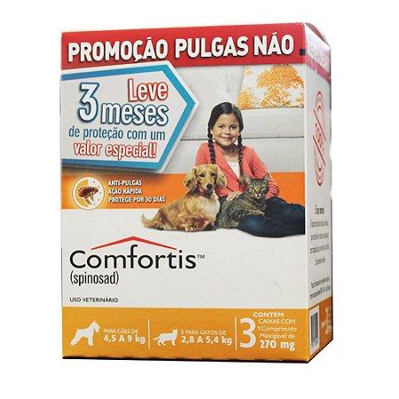 Antipulgas Comfortis 270 mg para Cães de 4,5 a 9 Kg e Gatos de 2,8 a 5,4 Kg 3 unidade