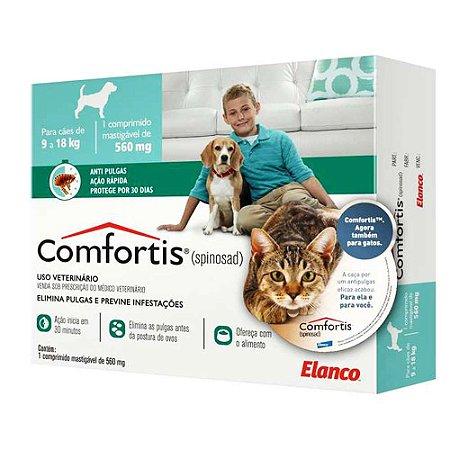 Antipulgas Comfortis 560 mg para Cães de 9 a 18 Kg e Gatos de 5,5 a 11 Kg 1 unidade