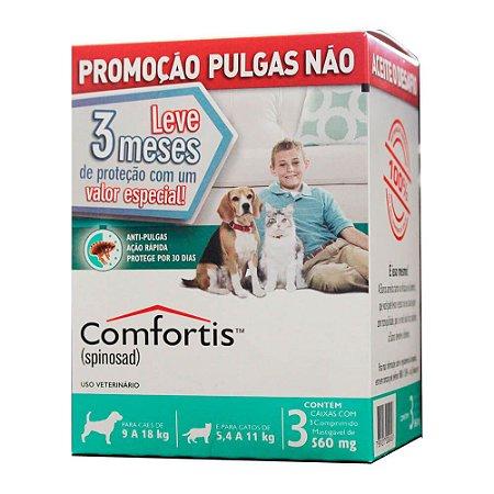 Antipulgas Comfortis 560 mg para Cães de 9 a 18 Kg e Gatos de 5,5 a 11 Kg  3 unidade