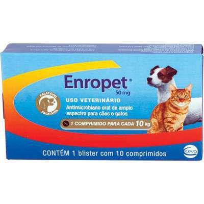 Antibiótico Ceva Enropet 50 mg - 10 Comprimidos