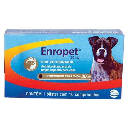 Antibiótico Ceva Enropet 150 mg - 10 comprimidos Cães