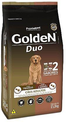Ração Golden Duo Cães Adultos Frango à Moda Caipira e Seleção de Carnes ao Molho 15kg