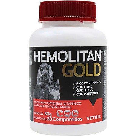 Suplemento Vetnil Hemolitan Gold para Cães e Gatos - 30 Comprimidos
