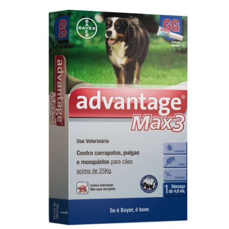 Antipulgas e Carrapatos Bayer Advantage MAX3 com 4 mL Cães + de 25 Kg 1 unidade