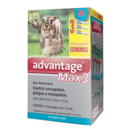 Antipulgas e Carrapatos Bayer Advantage MAX3 com 1 mL para Cães de 4 a 10 Kg 3 unidade