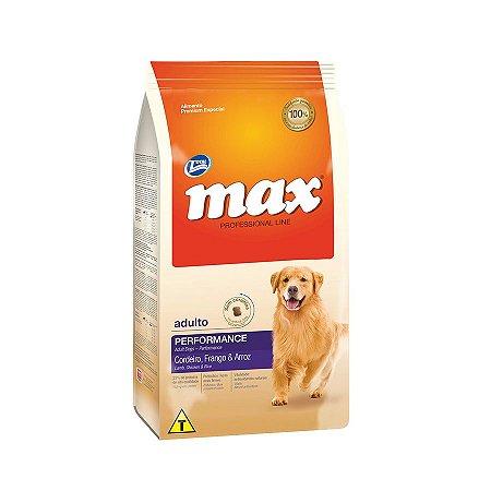 Ração Max Performance para Cães Adultos Sabor Cordeiro e Frango 15kg